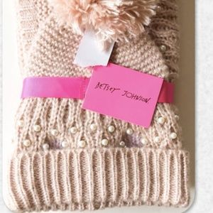 Betsey Johnson Beanie and Snood Scarf Set NWT
